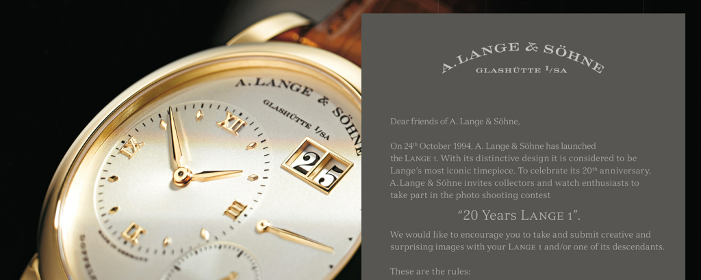 20 Years Lange 1 Photo Contest