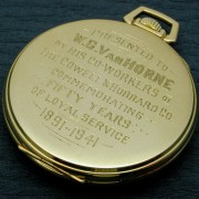 The caseback inscription, as commonly seen in the time of the pocket watch by PAUL DELURY