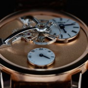 An amazing MB&F LM101 Frost Rose Gold macro photo of the three-dimensional dial