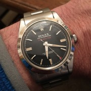 A vintage Rolex Milgauss – perfect size and has aged well