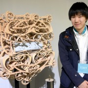 Japanese writing clock: hand-carved wooden automaton clock writes the time in 24-hour format