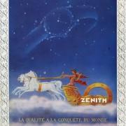 A framed vintage Zenith advertisement – la qualité à la conquête du monde