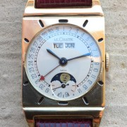 A vintage LeCoultre rectangular cased triple date moon phase, cal. 486/AW (1949)