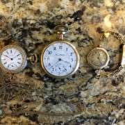 Some pocket watches: grandfather's Illinois, ladies Waltham, Elgin