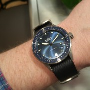 Another beautiful Blancpain Bathyscaphe – I love it on the blue NATO