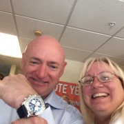 Astronaut Mark Kelly posing with Breitling Chronomat 44