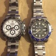 Rolex Ceramic Daytona + Ceramic Batman GMT side-by-side comparison