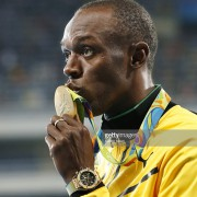 Usain Bolt x 2 @ 100m medal ceremony – Can't quite tell which Hublot model?