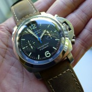 Assolutamente strap on a Panerai Luminor 1950 Flyback Regatta Chronograph PAM253