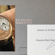 What a great company – I got authentication papers signed by FP Journe