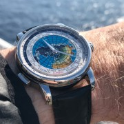 My recently-acquired Montblanc Orbis Terrarium World Timer on a 14-day trans-Atlantic cruise
