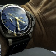 Panerai PAM670 Luminor 1950 Equation of Time 8 Days GMT – this blue dial, those gold hands