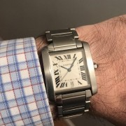 First Cartier watch I ever purchased –  a large automatic steel Tank Francaise
