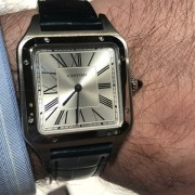 Trying on the new Cartier Santos-Dumont