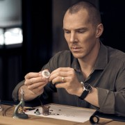 Benedict Cumberbatch assembling a movement wearing a Jaeger-LeCoultre Polaris Memovox