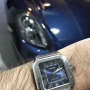 Sweet Santos Saturday – Blue dial Santos de Cartier with a 2014 dark metallic blue Porsche 981 Cayman S